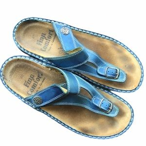FINN COMFORT SHOES Leather Thong Sandals Blue 40